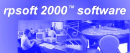 rpsoft 2000 logo in just blue and white