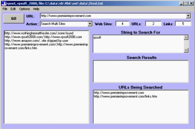 picture showing rpsoft 2000 site-crawler software screen for web crawling applications