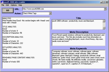 picture showing rpsoft 2000 site-crawler software screen for meta tag applications