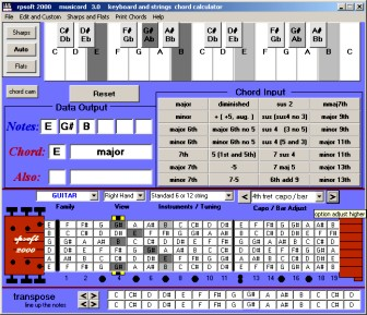 screen shot of musicord software ehowing E major chord