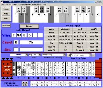 detuned or retuned stringed instrument chords